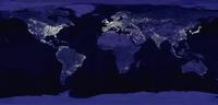 foto satelital del planeta d noche que muestra las desigualdades en la iluminación de paises y continentes