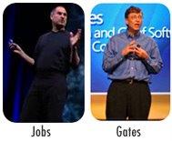 fotografías de Steve jobs, CEO de Apple, y Bill ates, Presidente de Microsoft, ambos haciendo una presentación