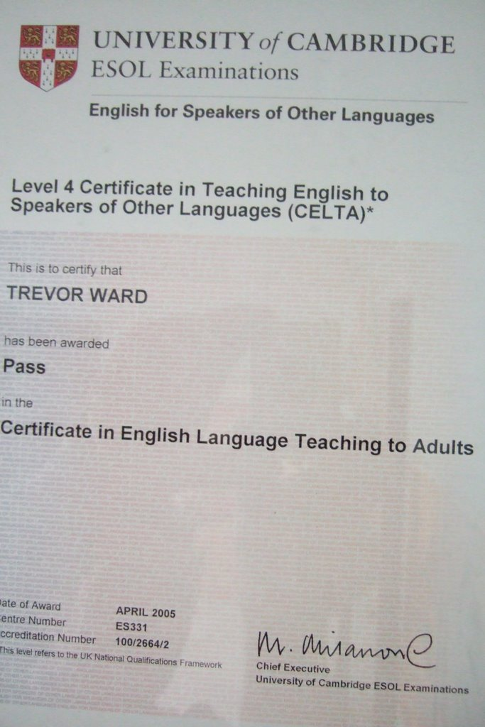 Celta Teaching Certificate Trevor Ward Writer For Hire
