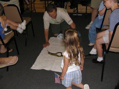 Hannah near snake