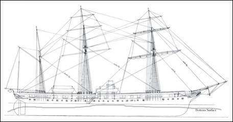 Ship with rigging