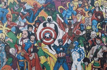 Down with pants olympia murals marvel comics for Comic book mural