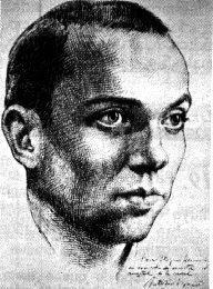 Miguel Hernández, en el conocido retrato ralizado por Buero Vallejo días atrás a su muerte