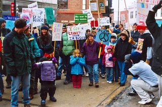 """Kids for Peace"" at the ""Preemptive Peace March,"" State Street, Madison, Wisconsin, February 1, 2003. Photo credit: John Hamilton"