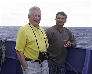Gary Comer and Captain George Silva at a 'Dive and Discover' launch. Read about it here: http://www.divediscover.whoi.edu/expedition2/daily/ss000206/4.html