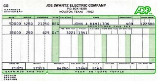 Payceck stub from Joe Swartz Electric. Joe Swartz put 50 trucks on the road every day, with three man crews in each one, wiring houses in Houston's boom of the early 80s.