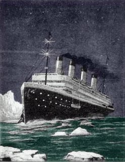 Jack Johnson wanted to get on board, captain said we don't haul no coal. Fare thee Titanic, fare thee well.