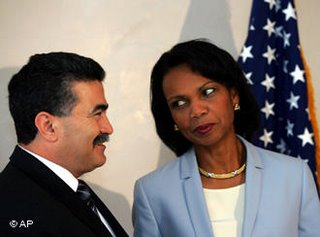 Condoleeza Rice meeting with 'Israeli' defense minister Amir Peretz in Jerusalem, July 29, 2006