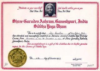 When I was a scholar of Siddha Yoga