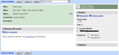 Google calendar event screen shot