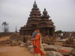 Mamallapuram's Shore Temple forms an impressive background