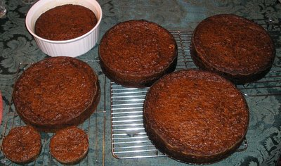 Two ovens of black cake
