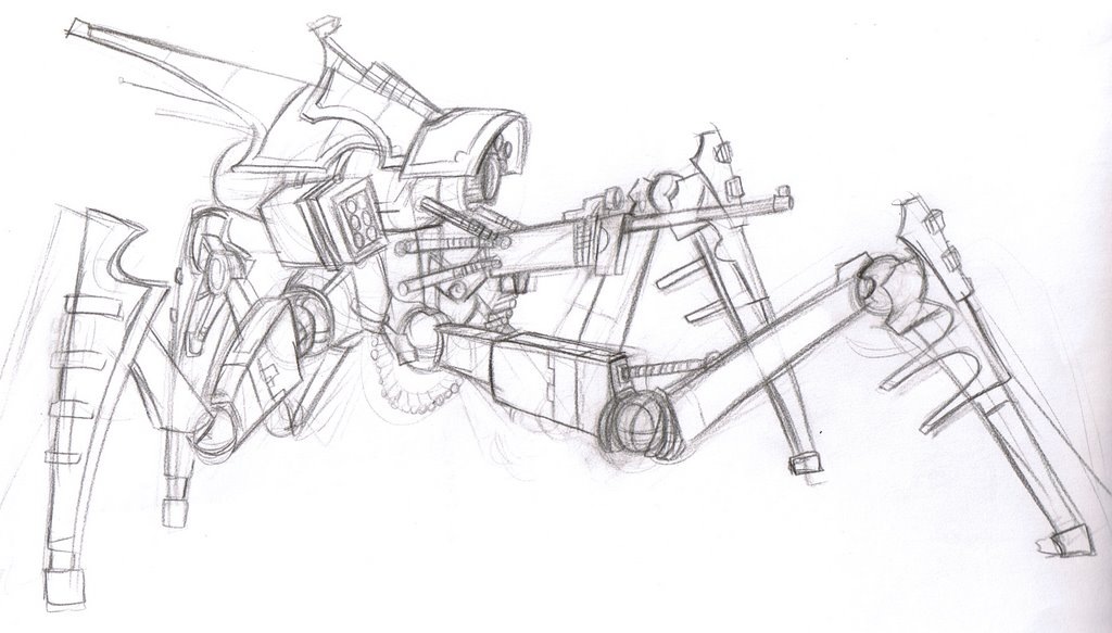 Line Drawing Robot : Seven strokes robot line art