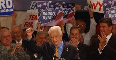 Sen. Robert C. Byrd announces his Senate candidacy at the State Capitol, surrounded by Adjutant General Allen Tackett, Rep. Nick J. Rahall, Rep. Alan B. Mollohan and Gov. Joe Manchin.