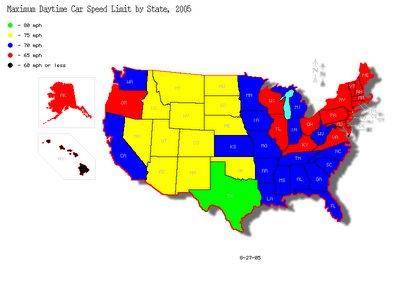 Maximum Daytime Car Speed Limits on Rural Interstates, 2005