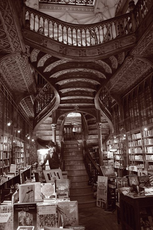photo, foto, Porto, livraria Lello & Irmão, photo dominique houcmant, goldo graphisme