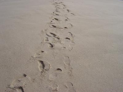 Passos na areia. Foto do autor