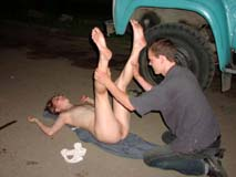 drunk naked girl getting examined