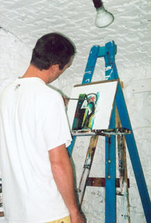 Caine at the easel