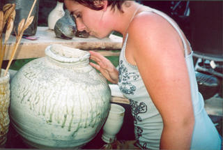 Amber about to sniff-test one of Lee's vessels