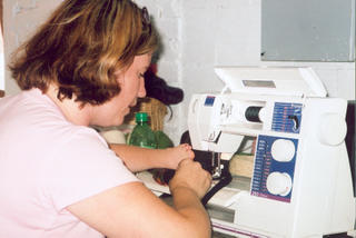liz on the sewing machine