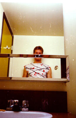 Self-portrait in Banff Centre student accomodation bathroom, 1985. Photo by Joe Blades