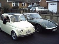 Fiat 500 and Lotus Elan +2S together.