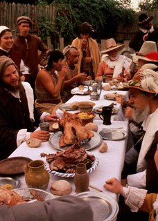 A reanactment of the first Thanksgiving is shown in this undated handout photo from Plimoth Plantation in Plymouth, Mass. According to food writer Linda Beaulieu, the first Thanksgiving did not include Turkey or some of the other food items associated with the holiday.  (AP Photo/Plimoth Plantation, Ted Curtin)