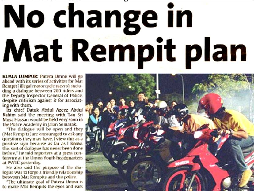 """essay about mat rempit This topic will explained why """"mat rempit"""" becoming a social problems and  some suggestion on how to solve the  causes and effects essay ( gangster  ism ."""