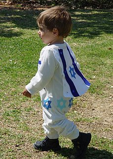 Jewish child dressed up at Purim festival