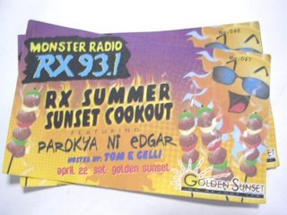 The RX Summer Sunset Cookout Tickets.