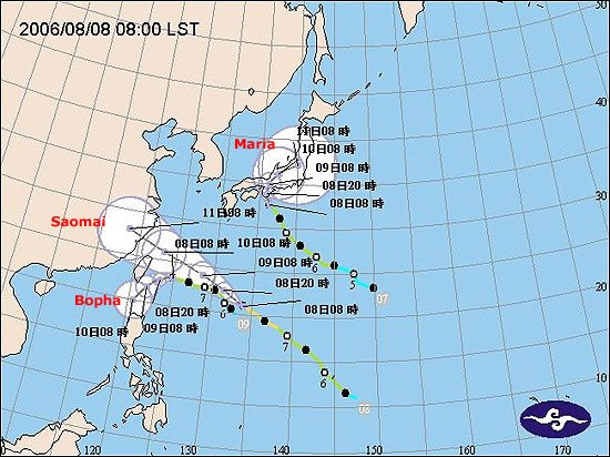 typhoons maria, bopha & saomai