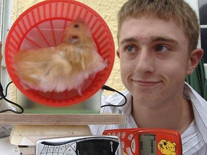 Hamster Wheel Power Hamster Powered Cellphone
