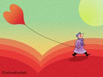 vignetta cuore come un palloncino
