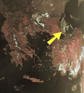 la freccia indica la Turchia