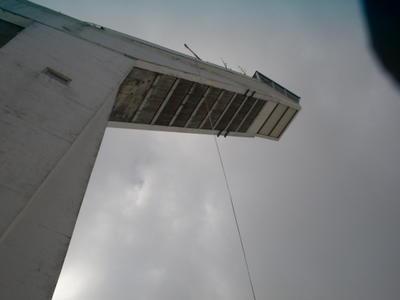 Abseil rope off ski jump