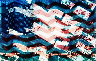 Puter pic by Snaggletooth, 2001, arial twin-tower photo-map by Mapquest with a wavy U.S. flag overlay