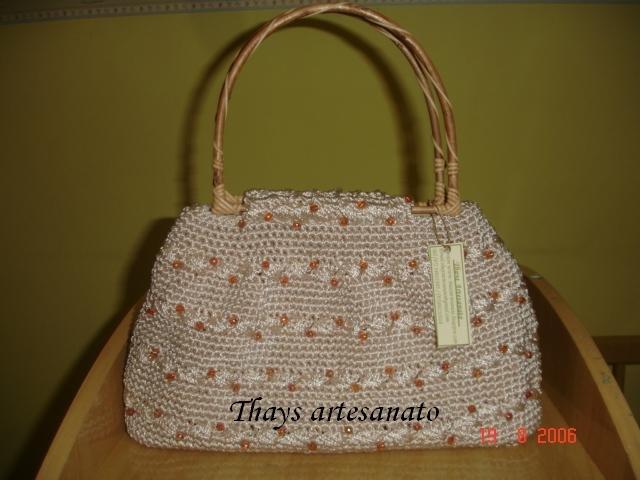 Bolsa De Tecido Com Alça De Bambu : Thays artesanato bolsa palha com contas e al?a de bambu