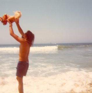 Noah, age 1, at Beacons Beach with Dad in 1973