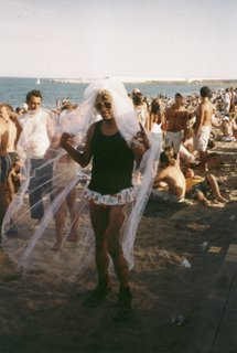 Tutu guy dancing on Barcelona beach
