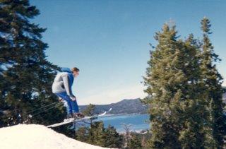Noah making a small ski jump at Snow Summit