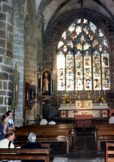 Aude and her sister in Locronan Church