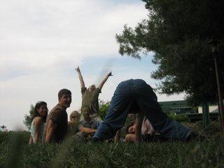 Relaxing in the grass at Callaway Vineyard