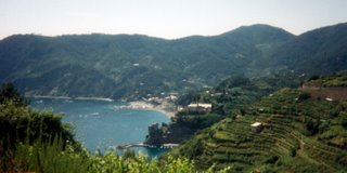 View of first Cinque Terra town from hiking trail