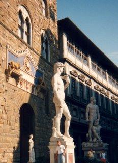Noah in front of David statue