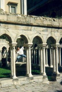 Greg posing amoung Genoa columns