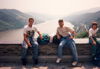 Noah and Greg with view of Rhein River from castle hostel