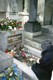 Flowers and Notes left on Jim Morrison's Grave