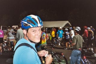 Chad at the finish of the Midnight Madness Bike Ride