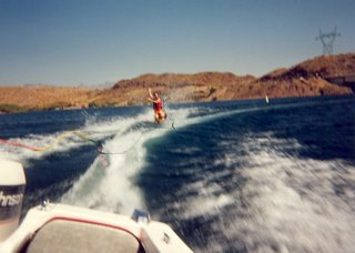 Jeremy kneeboarding on Lake Mohave